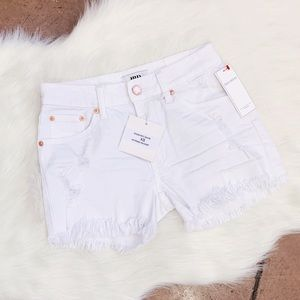 JBD White High Rise Fringe Hem Shorts, Size XS